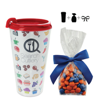 Plastic Travel Mug with Corporate Color Chocolates - 16 oz.