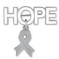 Hope with Grey Ribbon Charm Pin