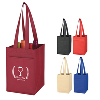 Non-Woven 4 Bottle Wine Tote Bag