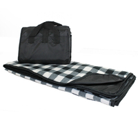 Explorer Picnic Blanket - Black and White Buffalo Plaid,