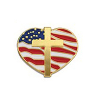 Heart with Cross and Flag Die Struck Patriotic Pin