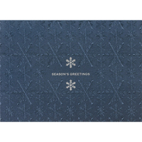 Navy Shimmer Embossed Snowflakes Greeting Card