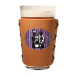 Leather Pint Holder Sleeve with Full Color Metal Badge Logo