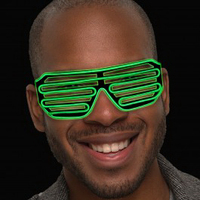 Green LED Slotted EL Wire Sunglasses