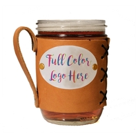 Leather Wide-Mouth Mason Jar Holder with Full Color Logo