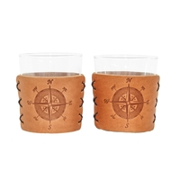 Leather Highball Sleeve and Glass Set of 2