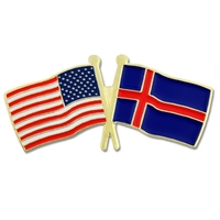 USA / Iceland - Friendship Flag Lapel Pin