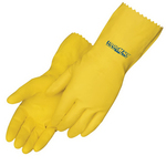 Yellow Latex Unsupported Flock Lined Glove