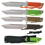 """11"""" Hunting Knife with Fire Starter/Whistle & Paracord Wrap"""