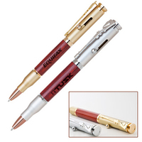 Brass/Wood Bullet Ballpoint Pen with Rifle Clip