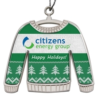 Die Cast Holiday Ornament - Shiny Nickel Finish Ugly Sweater