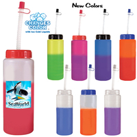 32 oz. Mood Sports Bottle With Flexible Straw, Full Color Di