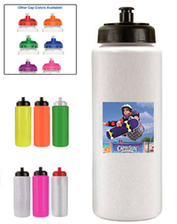 32oz. Sports Bottle w/Push 'n Pull Cap, Full Color Digital