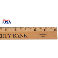 """12""""Exec.Office Ruler, Lacquer Finish w/Metal Edge, Eng.Scale"""