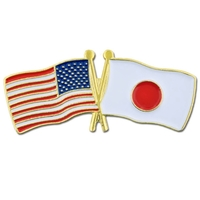 World Flag - USA & Japan Flag Pin