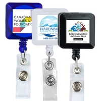 30 Cord Square Retractable Badge Reel with Metal Slip Clip