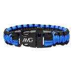 Blue & Black Paracord Bracelet With Whistle
