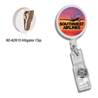 Round Retractable Badge Holder W/alligator Clip,Full Color D