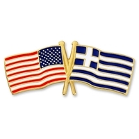 World Flag - USA & Greece Flag Pin