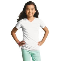 LAT® Girls' V-Neck Fine Jersey T-Shirt