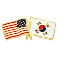 World Flag - USA & South Korea Flag Lapel Pin