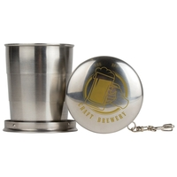 8.45 oz Stainless Steel Collapsible Cup w/Keychain