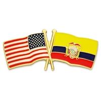 World Flag - USA & Ecuador Flag Pin