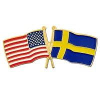 World Flag - USA & Sweden Flag Pin