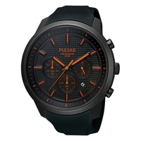 Pulsar Men's Chronograph Black Ion Red Accent Watch