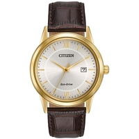 Citizen Men's Eco-Drive Watch With Brown Leather Strap