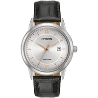 Citizen Men's Eco-Drive With Black Leather Strap