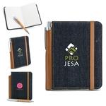 Denim Notebook and Bamboo Pen Set