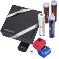 Plastic Cylinder Power Bank & Wall Charger Combo