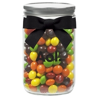 12 oz Glass Mason Jar With Skittles (R)