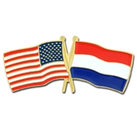 World Flag - USA & Netherlands Flag Pin