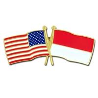 World Flag - USA & Indonesia Flag Pin