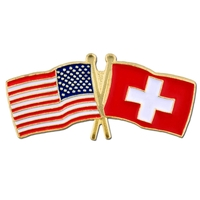 World Flag - USA & Switzerland Flag Pin