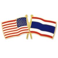 USA and Thailand Flag Pin