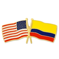 World Flag - USA & Columbia Flag Pin