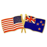 Cross Flag - USA & New Zealand Flag Pin