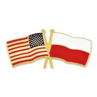 World Flag - USA & Poland Flag Pin