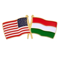World Flag - USA & Hungary Flag Pin