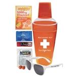 Recovery Hangover Orange Shaker with Sunglasses, Advil