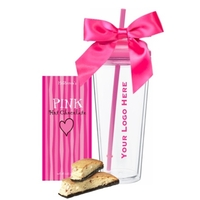 Breast Cancer Awareness Travel Tumbler with Pink Cocoa