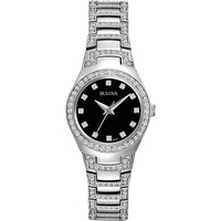 Bulova Womens Crystal Collection Watch with Black Dial