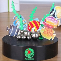 Magnetic Sculpture Desk Toys - Six Fish, 8 Stainless Balls