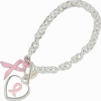 Awareness Ribbon & Heart Charm Bracelet