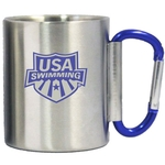 Double wall stainless steel cup with blue carabiner handle
