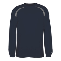 Adult Long-Sleeve Performance Tee with Heather Shoulder I...