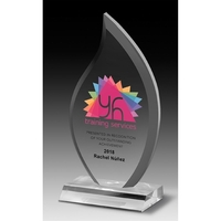 "Multi-Faceted Acrylic Flame Award - 4"" x 7 3/4"" x 3/4"""